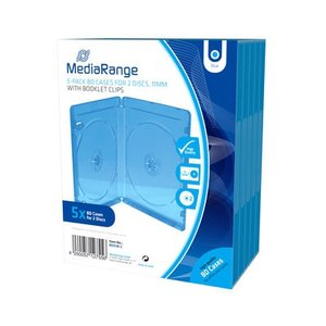 Blu-Ray  dubbel doosjes transparant blauw 5 stuks 11mm